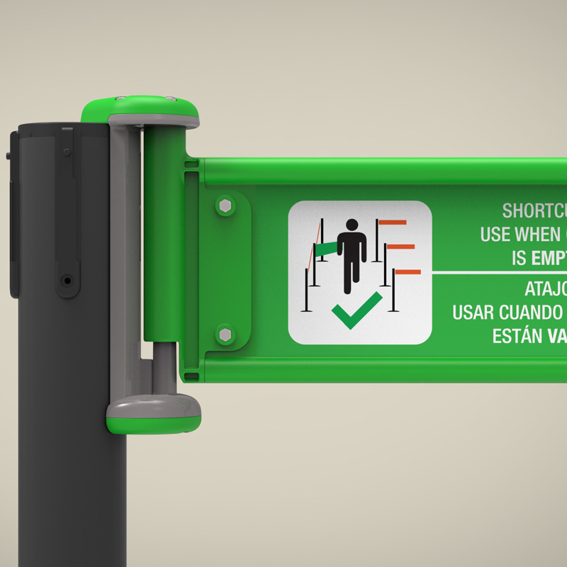 The ShortCutQ solves the well known frustration experienced by all who have had to zigzag their way through large empty queue control barriers. It provides a direct route through the system straight up to the point of service.